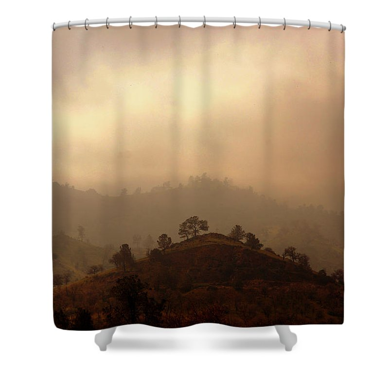 Hills Shower Curtain featuring the photograph Fog In The Hills by Susanne Van Hulst