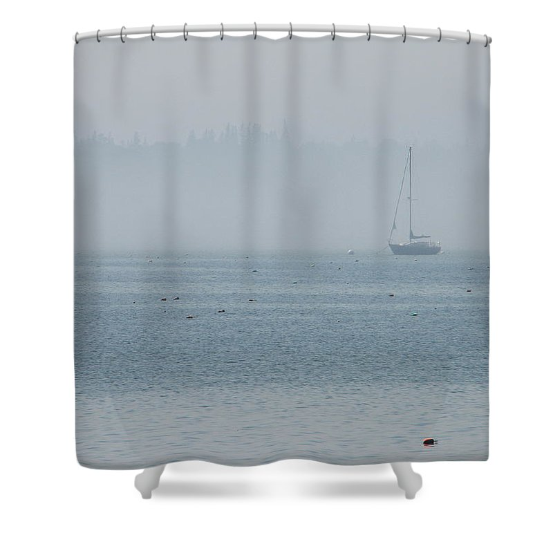 Fog Shower Curtain featuring the photograph Fog On Davis Cove by Kelly Mezzapelle