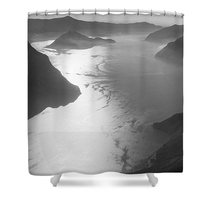 Iseo Shower Curtain featuring the photograph Fog Over The Iseo by Riccardo Mottola