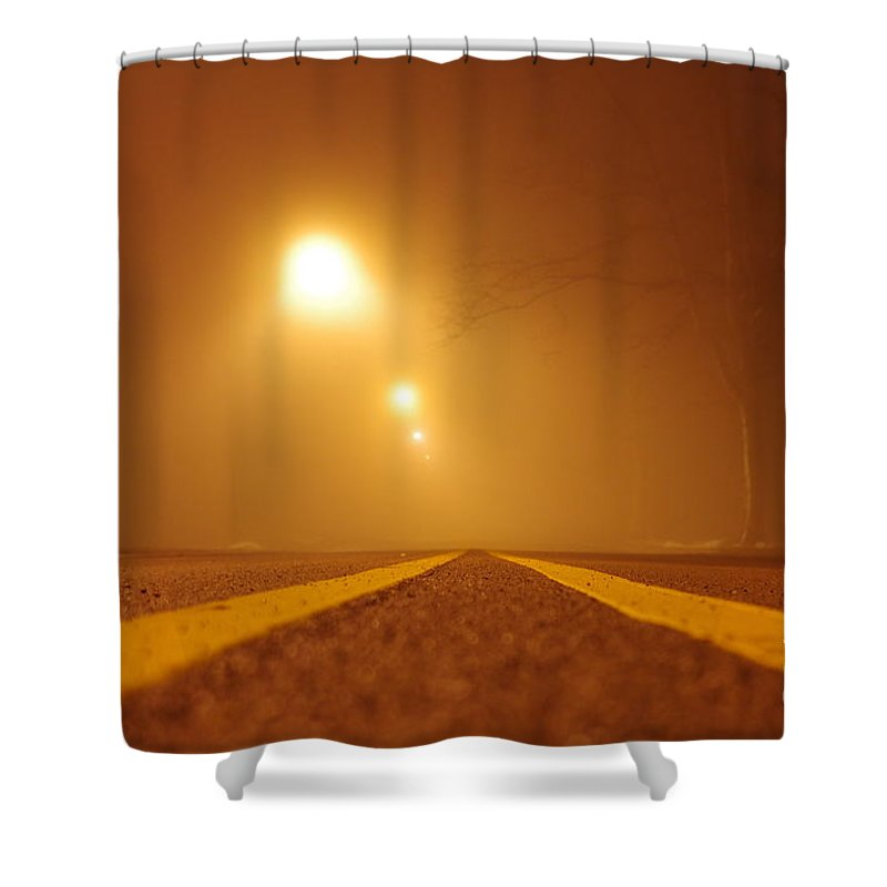 Shower Curtain featuring the photograph Fog Shrouded Road by Kitrina Arbuckle