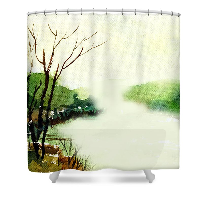 Water Color Shower Curtain featuring the painting Fog1 by Anil Nene