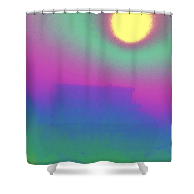 Abstract Shower Curtain featuring the digital art Foggy Day by Tim Allen