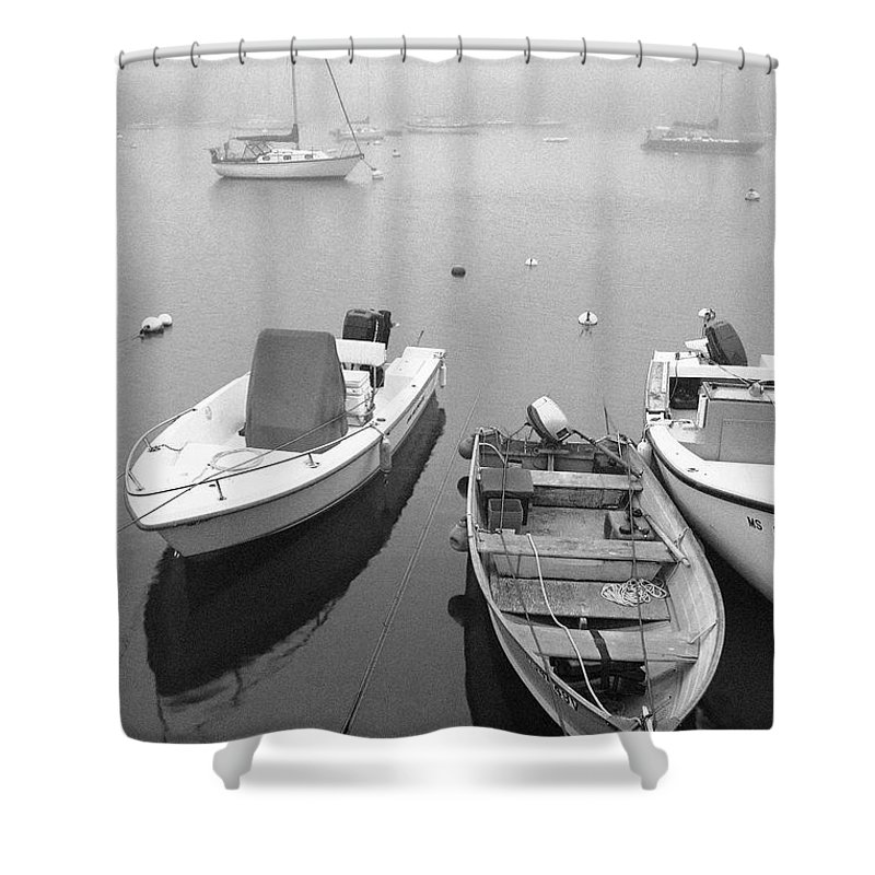 Black And White Shower Curtain featuring the photograph Foggy Morning In Cape Cod Black And White by Matt Suess