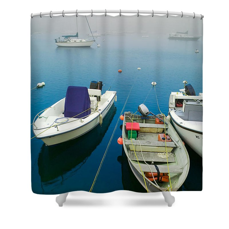 Blue Shower Curtain featuring the photograph Foggy Morning In Cape Cod Massachusetts by Matt Suess