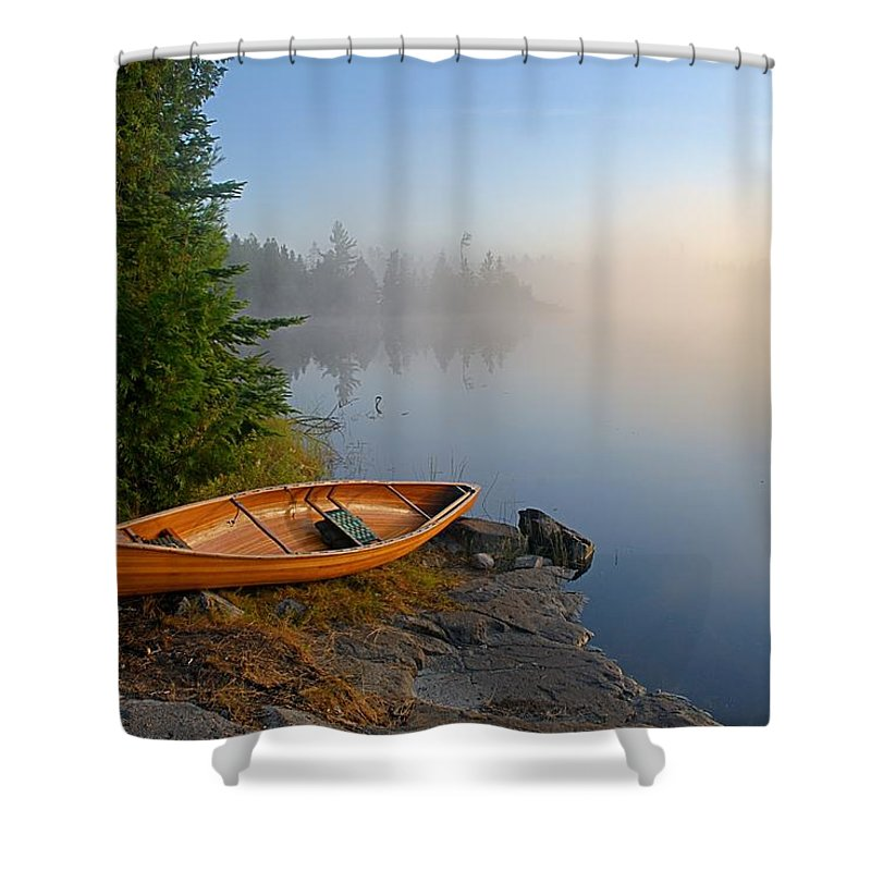Boundary Waters Canoe Area Wilderness Shower Curtain Featuring The Photograph Foggy Morning On Spice Lake By