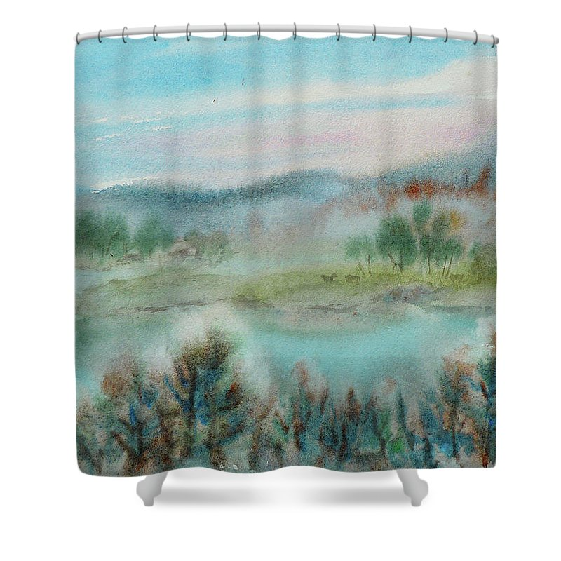 Landscape Shower Curtain featuring the painting Foggy Morning by Xueling Zou