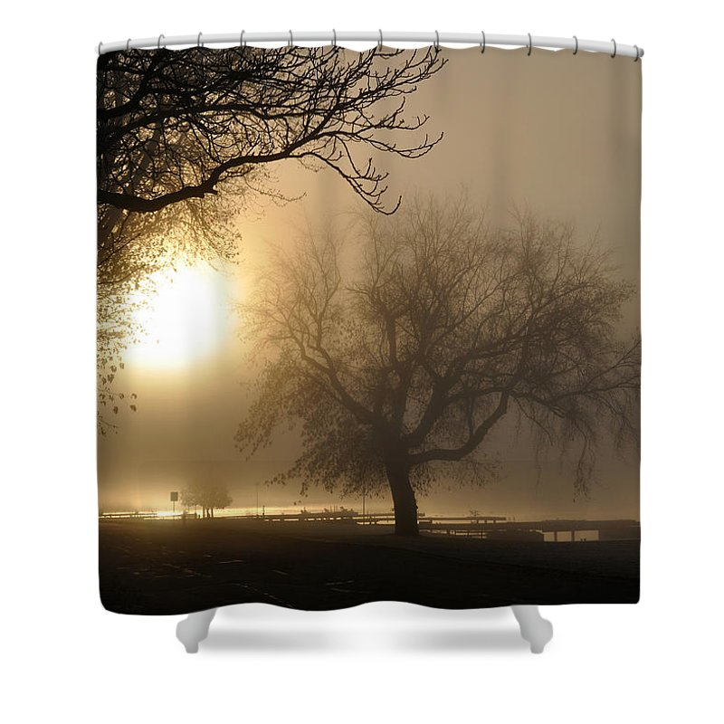 Foggy Shower Curtain featuring the photograph Foggy November Sunrise On The Bay by Tim Nyberg