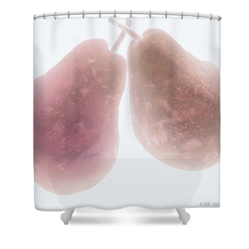 Pear Pair Stem Red White Fruit Shower Curtain featuring the photograph Foggy Plum Pears by Heather Kirk