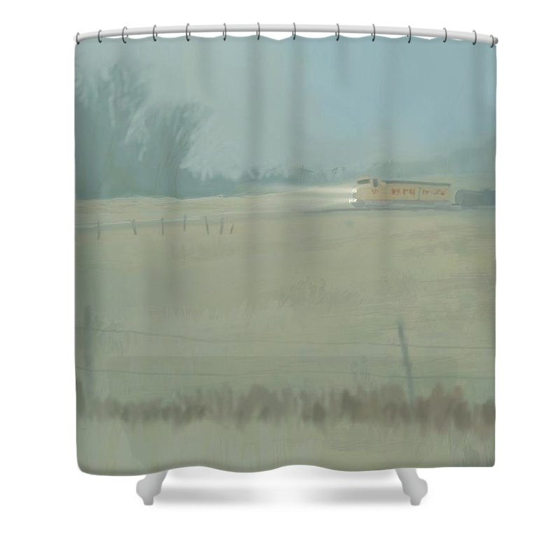 Landscape Shower Curtain featuring the digital art Foggy Spring Morning by Jeanne Cutler
