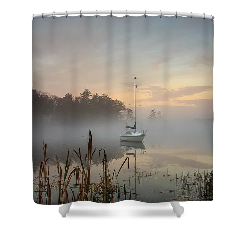 Great Pond Shower Curtain featuring the photograph Foggy Sunrise At Great Pond 3 by Jim Hayes