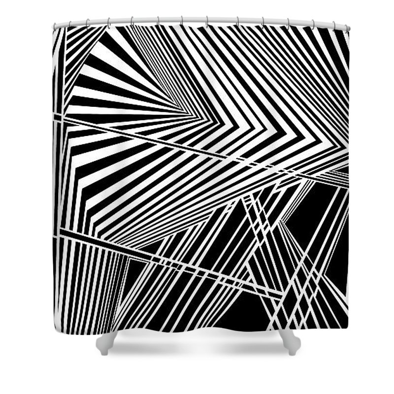 Dynamic Black And White Shower Curtain featuring the painting Folderol by Douglas Christian Larsen