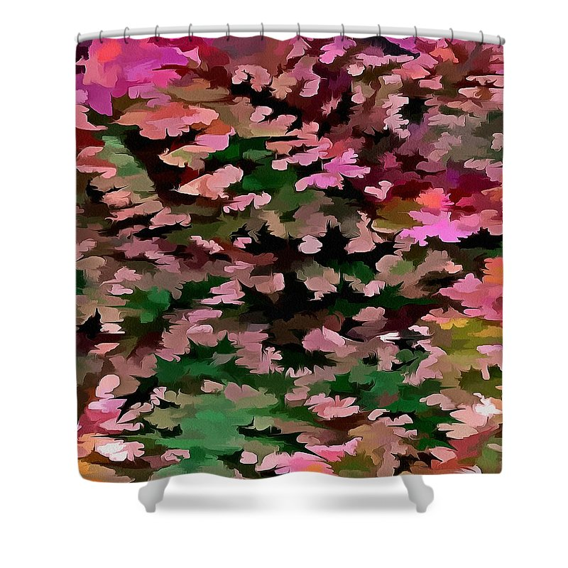 Dusty Miller Shower Curtain featuring the digital art Foliage Abstract In Pink, Peach And Green by Taiche Acrylic Art