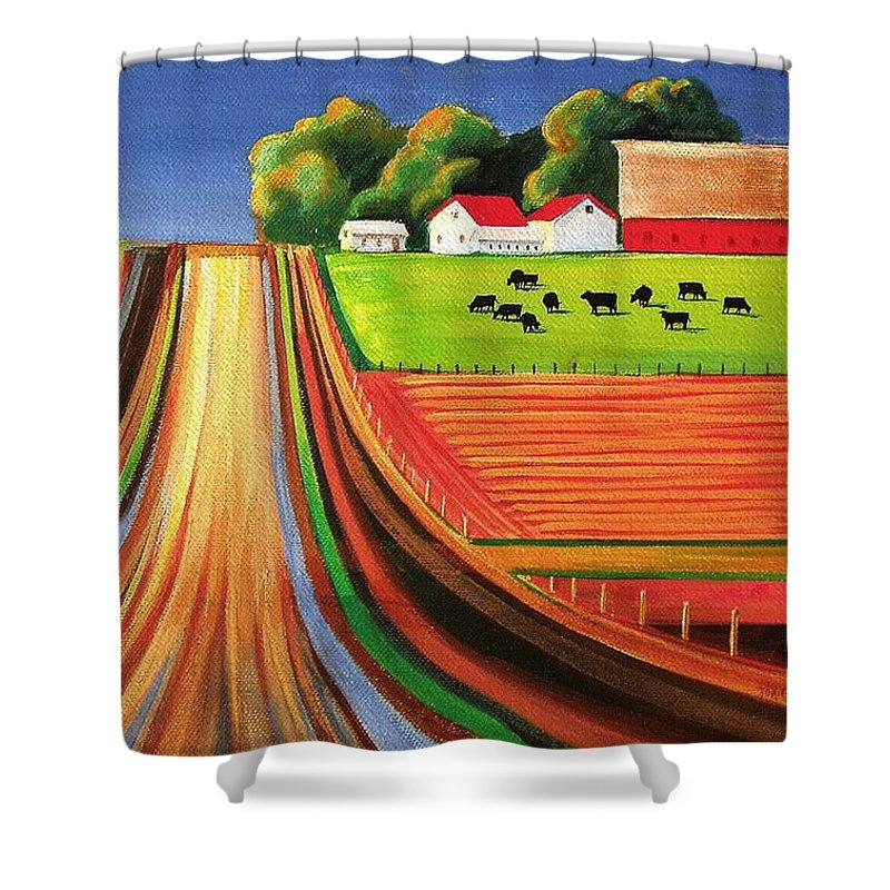 Folk Art Shower Curtain Featuring The Painting Farm By Toni Grote