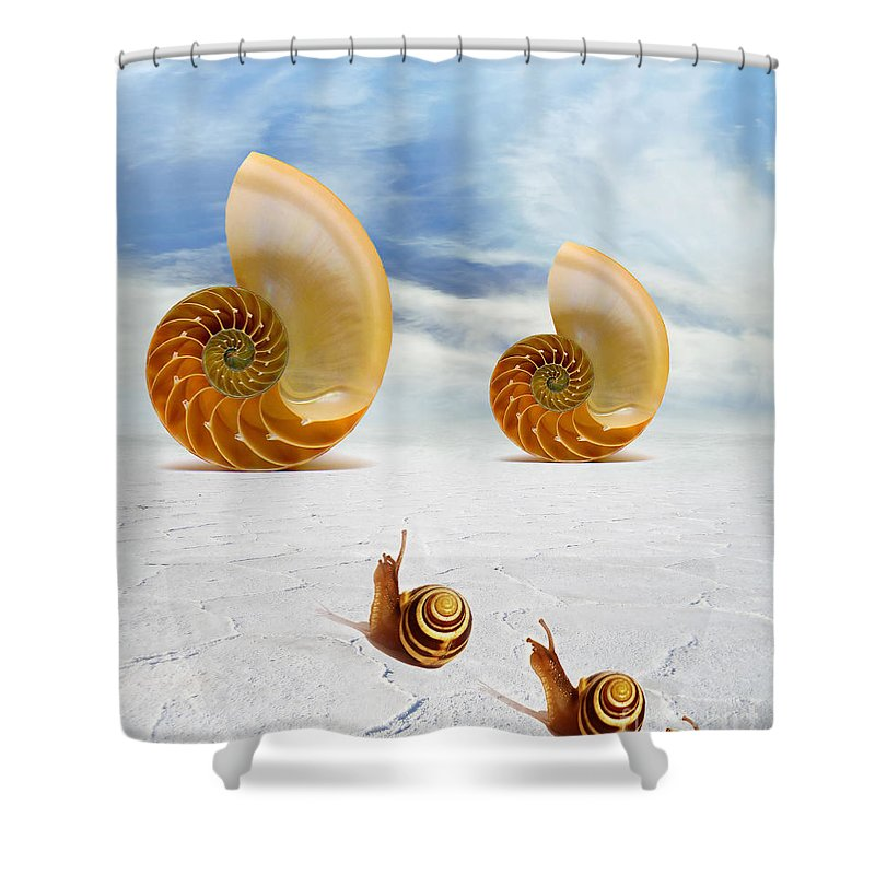 Photodream Art Shower Curtain featuring the digital art Follow Your Dreams by Jacky Gerritsen