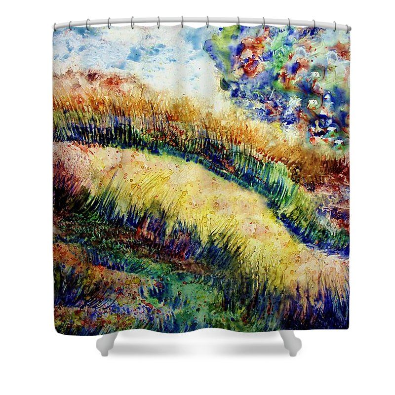 Landscape Shower Curtain featuring the painting Follow Your Dreams by Robin Monroe
