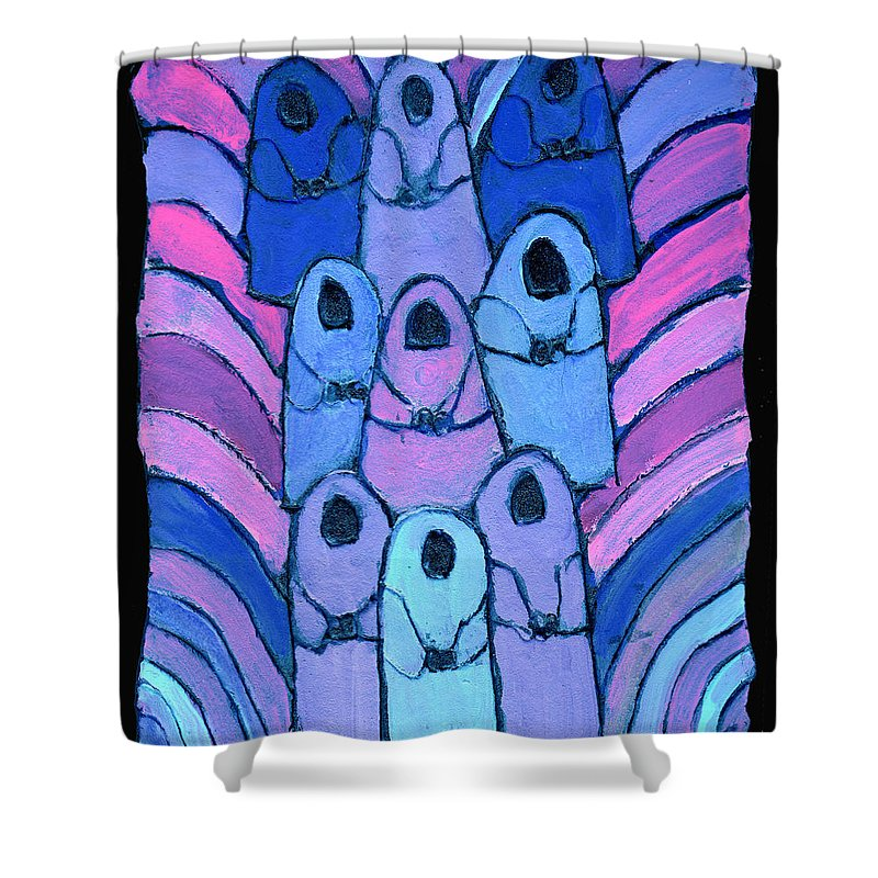 Abstract Shower Curtain featuring the painting Following In The Footsteps by Wayne Potrafka