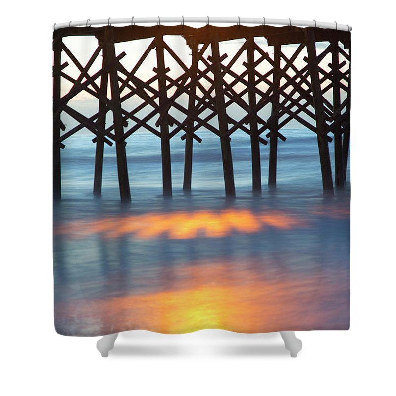 Folly Beach Pier Shower Curtain featuring the photograph Folly Beach Abstract by Nancy Dunivin