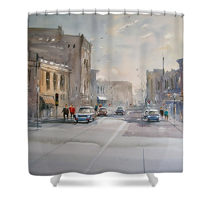 Watercolor Shower Curtain featuring the painting Fond Du Lac - Main Street by Ryan Radke