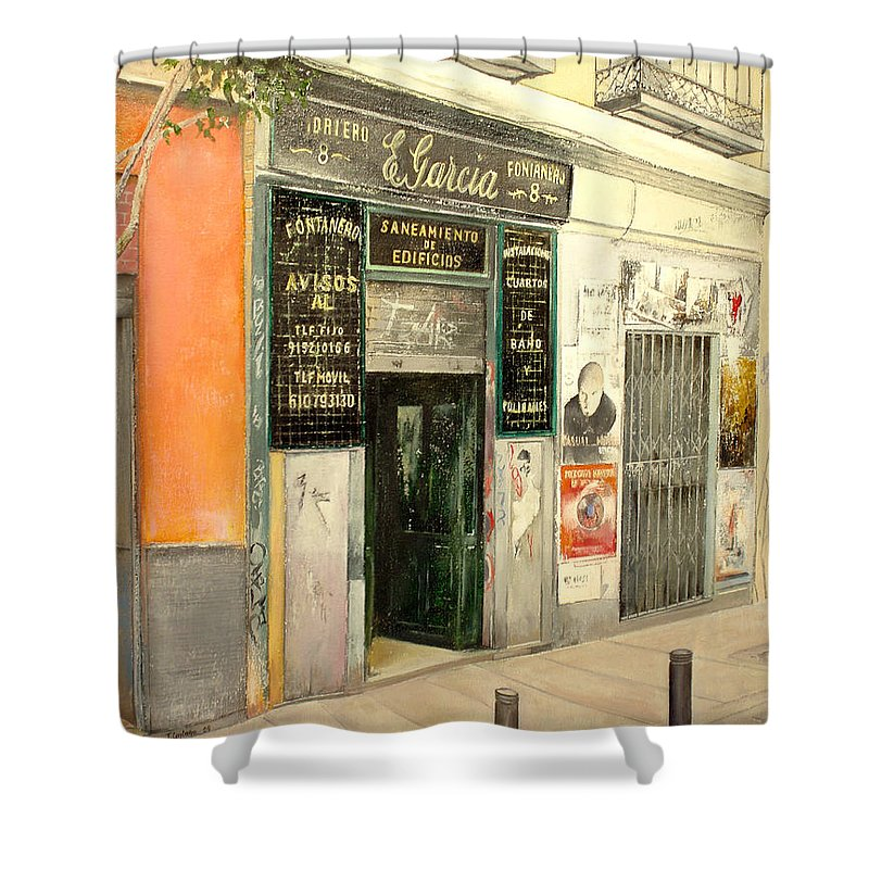 Streetscene Shower Curtain featuring the painting Fontaneria E.Garcia by Tomas Castano