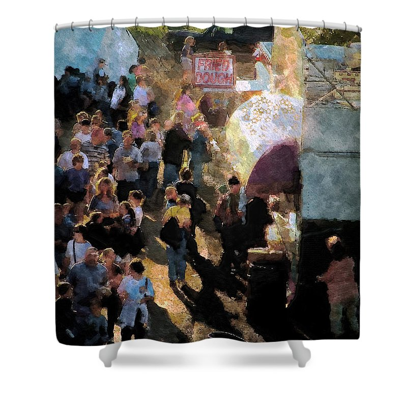 Americana Shower Curtain featuring the painting Food Alley At The Country Fair by RC DeWinter