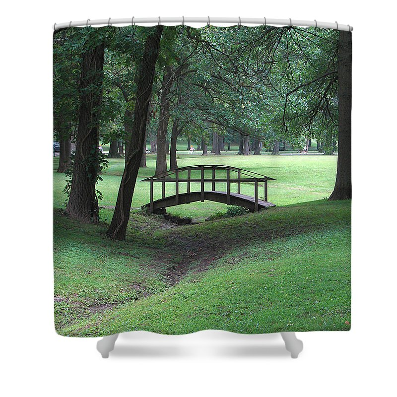 Bridge Shower Curtain featuring the photograph Foot Bridge In The Park by J R Seymour