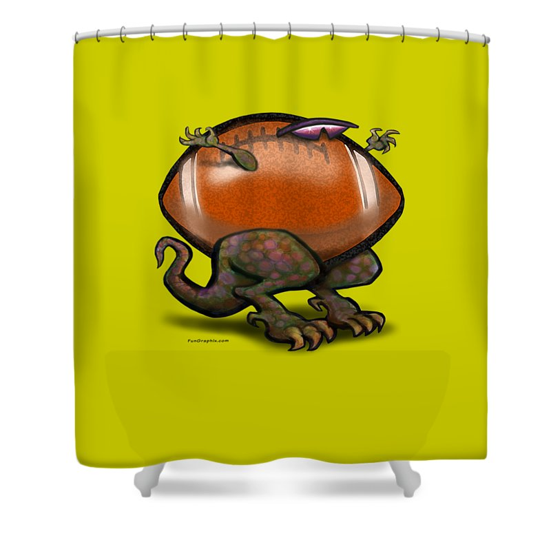 Football Shower Curtain featuring the digital art Football Beast by Kevin Middleton