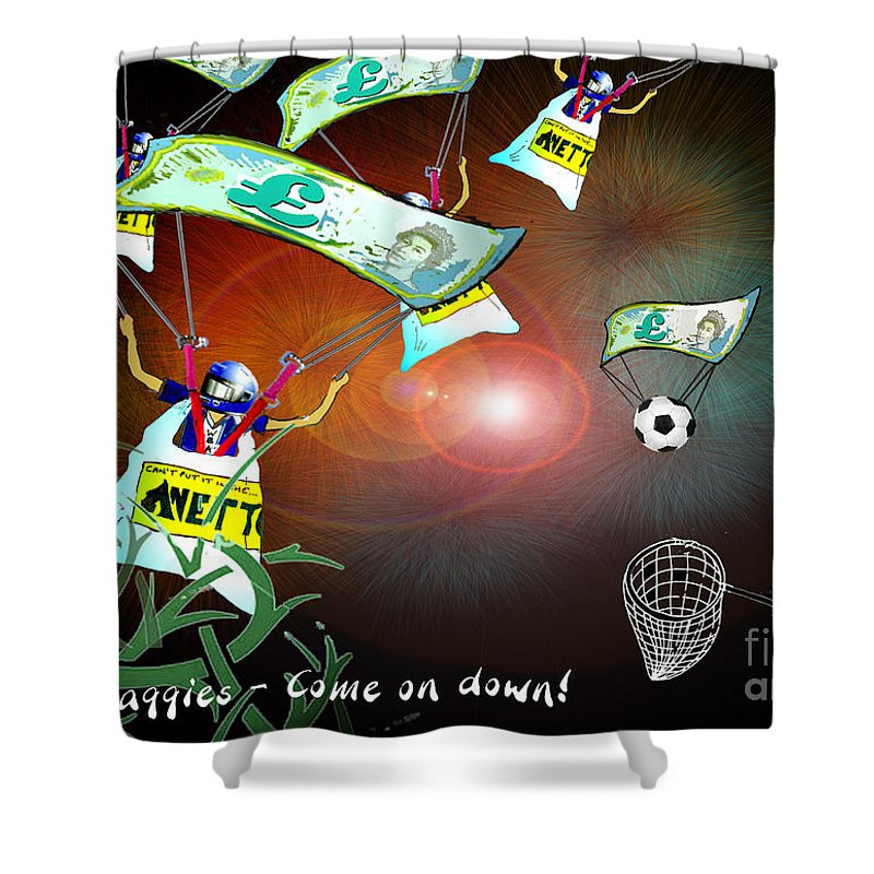 Football Calendar 2009 Derby County Football Club West Brom Artwork Miki Shower Curtain featuring the painting Football Derby Rams Against West Brom Baggies by Miki De Goodaboom
