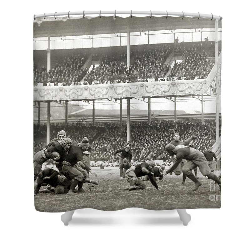 1916 Shower Curtain featuring the photograph Football Game, 1916 by Granger