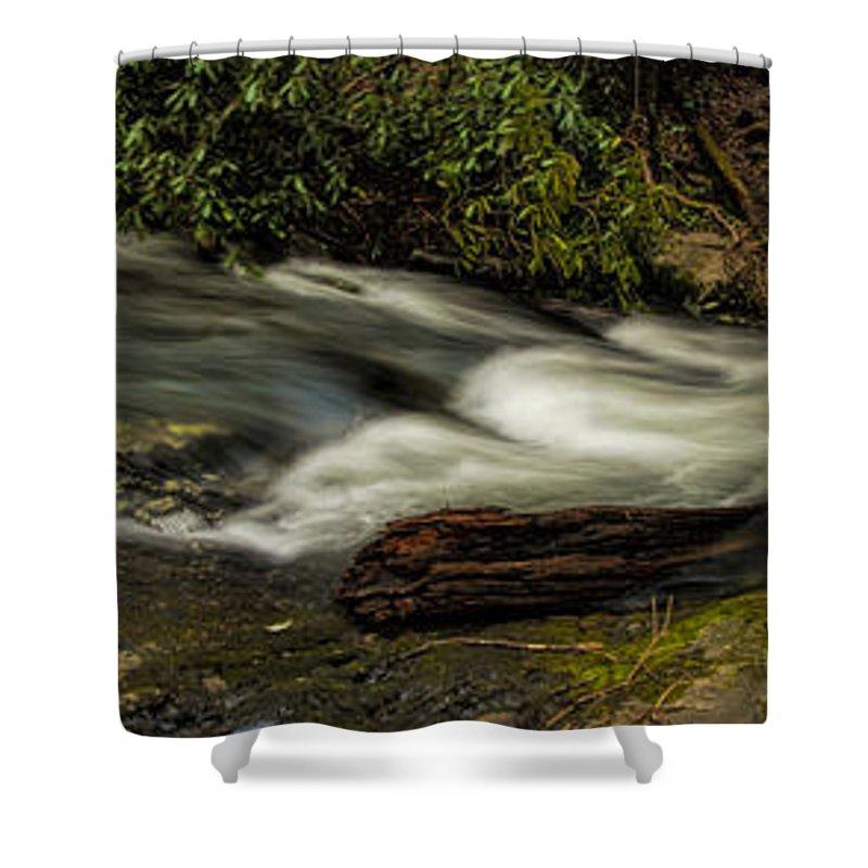 Footbridge Shower Curtain featuring the photograph Footbridge Over Raging Moccasin Creek by Barbara Bowen