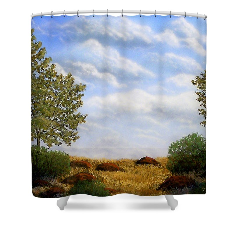 Landscape Shower Curtain featuring the painting Foothills Afternoon by Frank Wilson