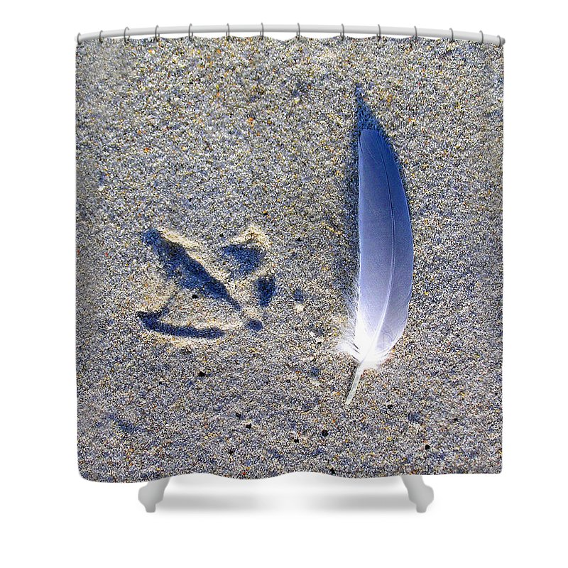 Footprint Shower Curtain featuring the photograph Footprint And Feather by Charles Harden