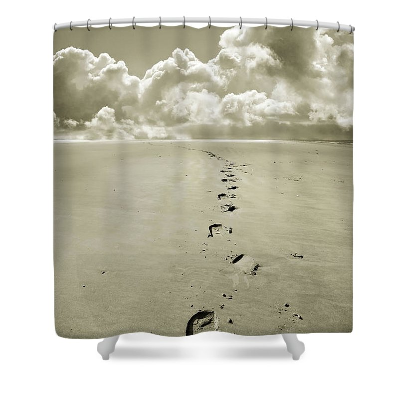 Footprints Shower Curtain featuring the photograph Footprints In Sand by Mal Bray
