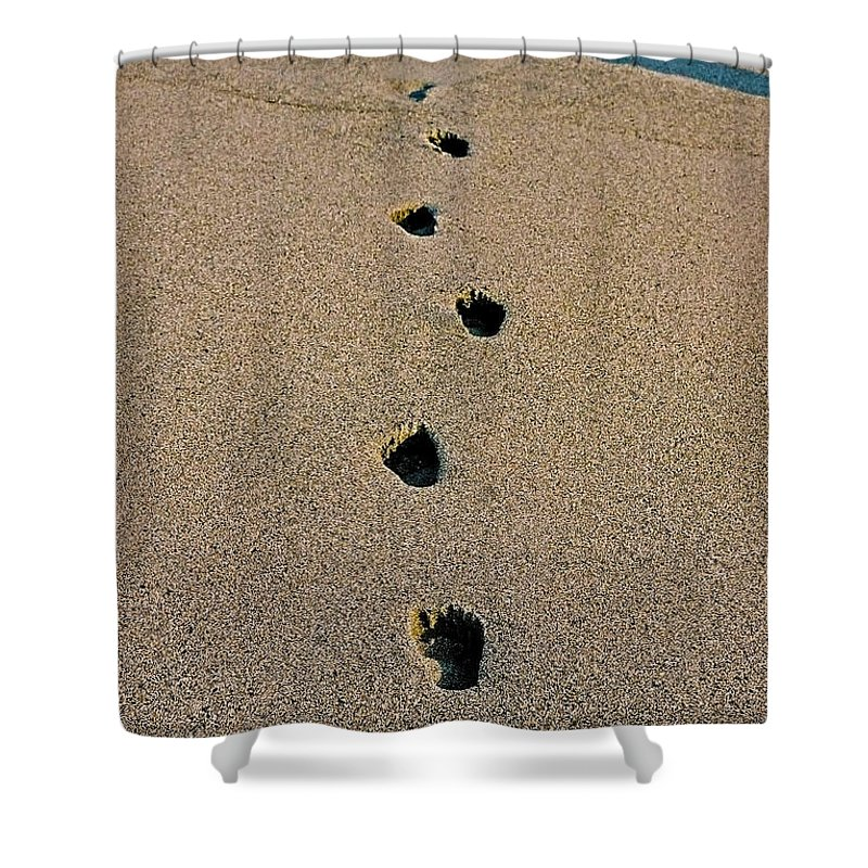 Pacific Shower Curtain featuring the photograph Footprints In The Sand ... by Juergen Weiss