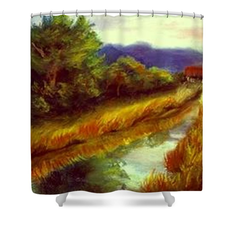 Landscape Shower Curtain featuring the painting For A Thirsty Land by Gail Kirtz