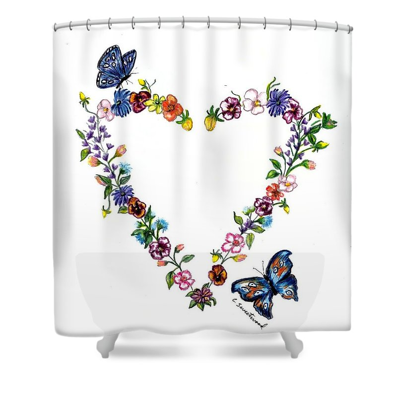 Heart Shower Curtain featuring the drawing For Danielle by Carol Sweetwood