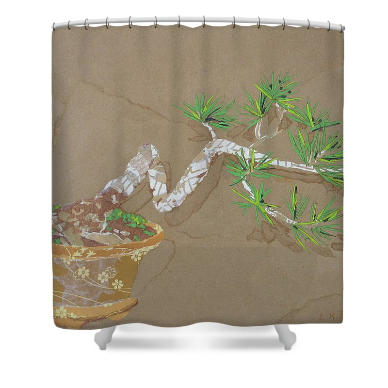 Banzai Tree Shower Curtain featuring the painting For Inge by Leah Tomaino