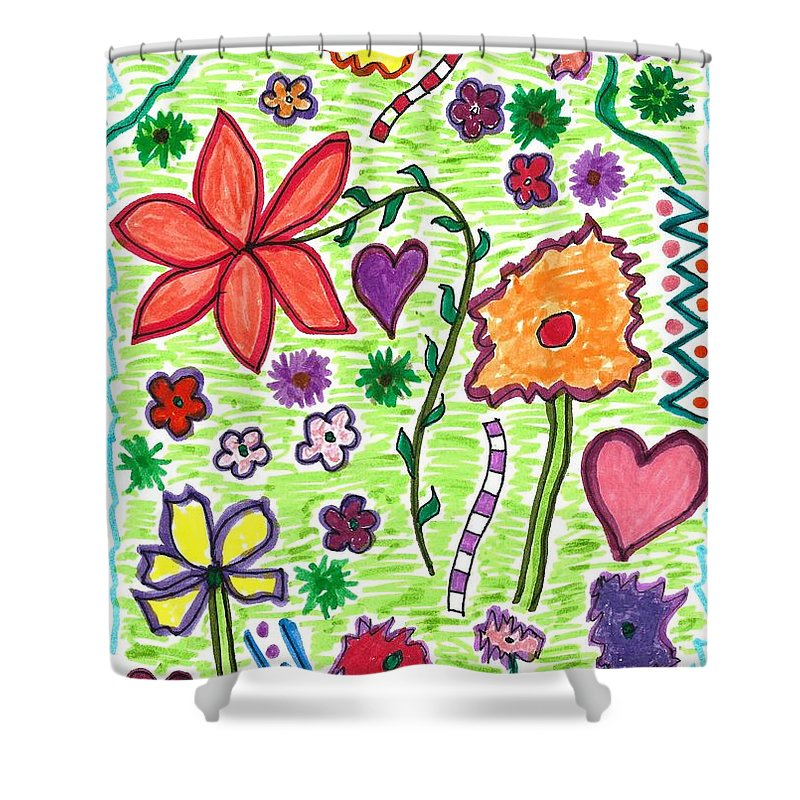 Drawing Shower Curtain featuring the drawing For The Love Of Flowers by Susan Schanerman