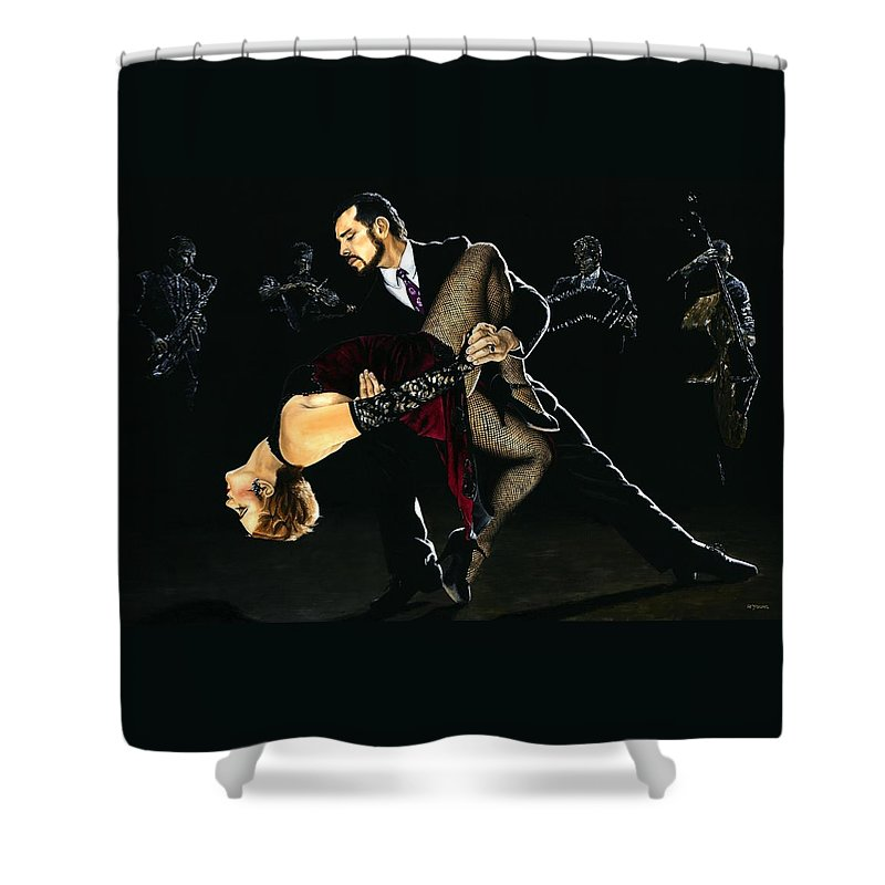 Tango Shower Curtain featuring the painting For the Love of Tango by Richard Young