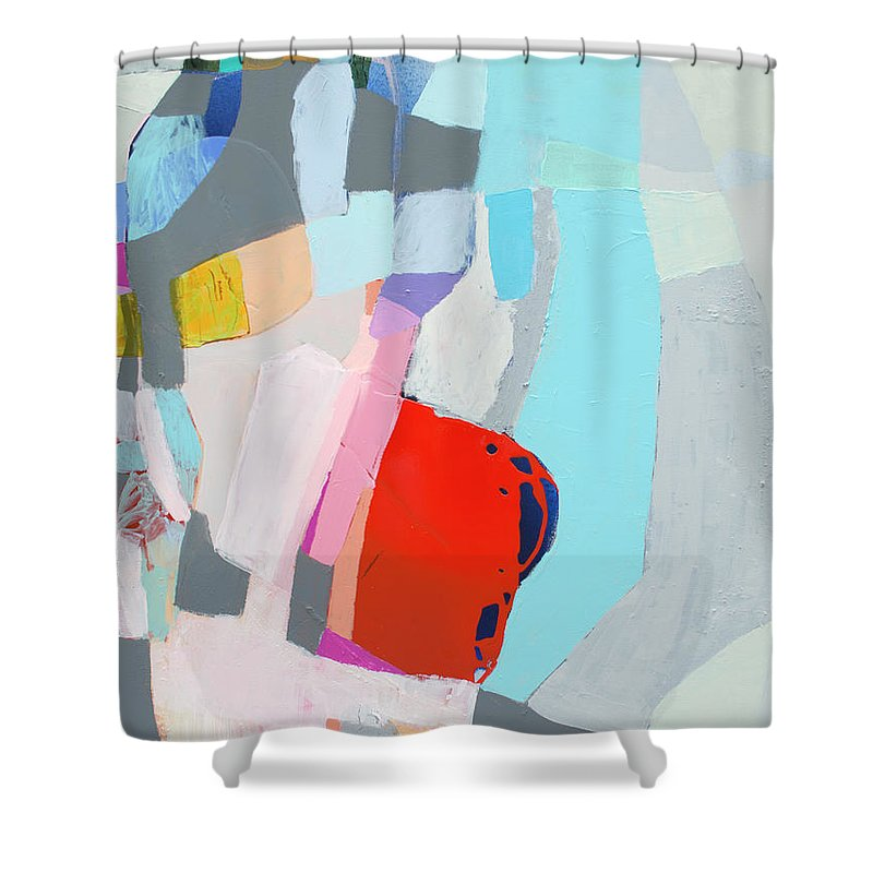 Abstract Shower Curtain featuring the painting For What You Are by Claire Desjardins