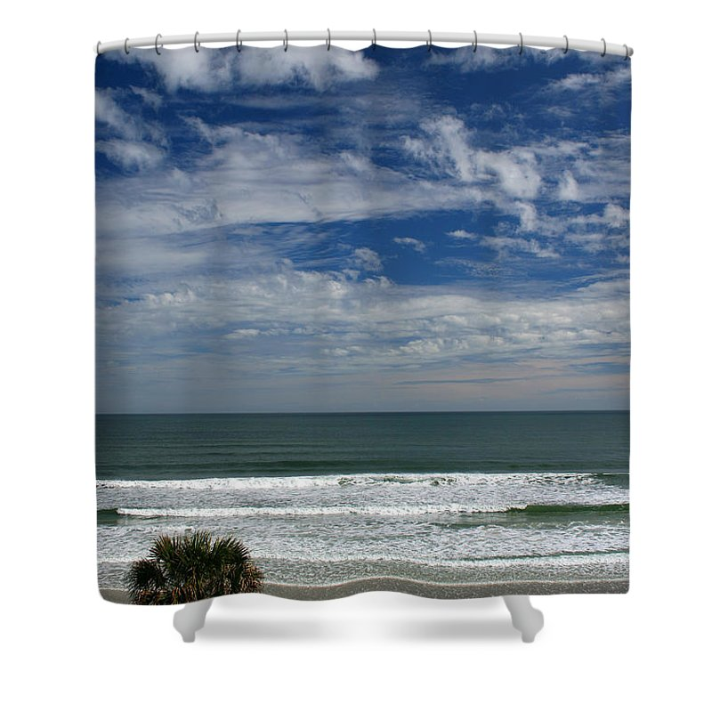 Beach Sky Cloud Clouds Blue Water Wave Waves Palmtree Tree Palm Sand Sun Sunny Vacation Travel Shower Curtain featuring the photograph For Your Pleasure by Andrei Shliakhau