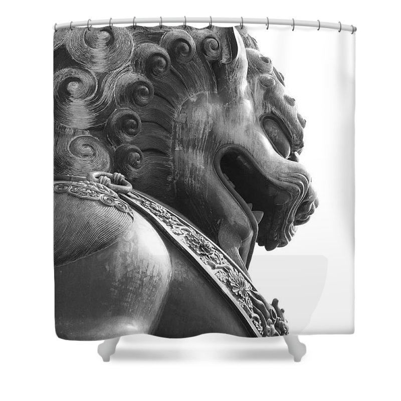 China Shower Curtain featuring the photograph Forbidden City Lion - Black And White by Carol Groenen