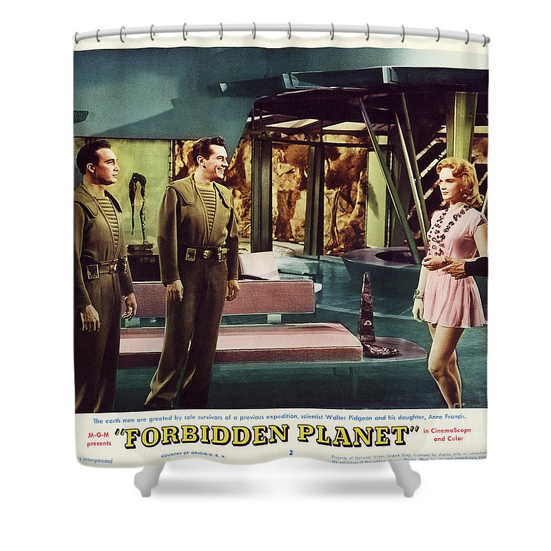 Forbidden Planet Shower Curtain featuring the photograph Forbidden Planet In Cinemascope Retro Classic Movie Poster Indoors by R Muirhead Art