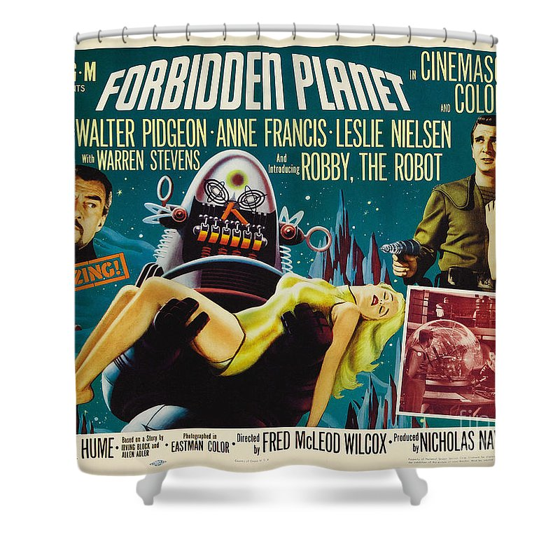 Forbidden Planet Shower Curtain featuring the painting Forbidden Planet In Cinemascope Retro Classic Movie Poster by R Muirhead Art