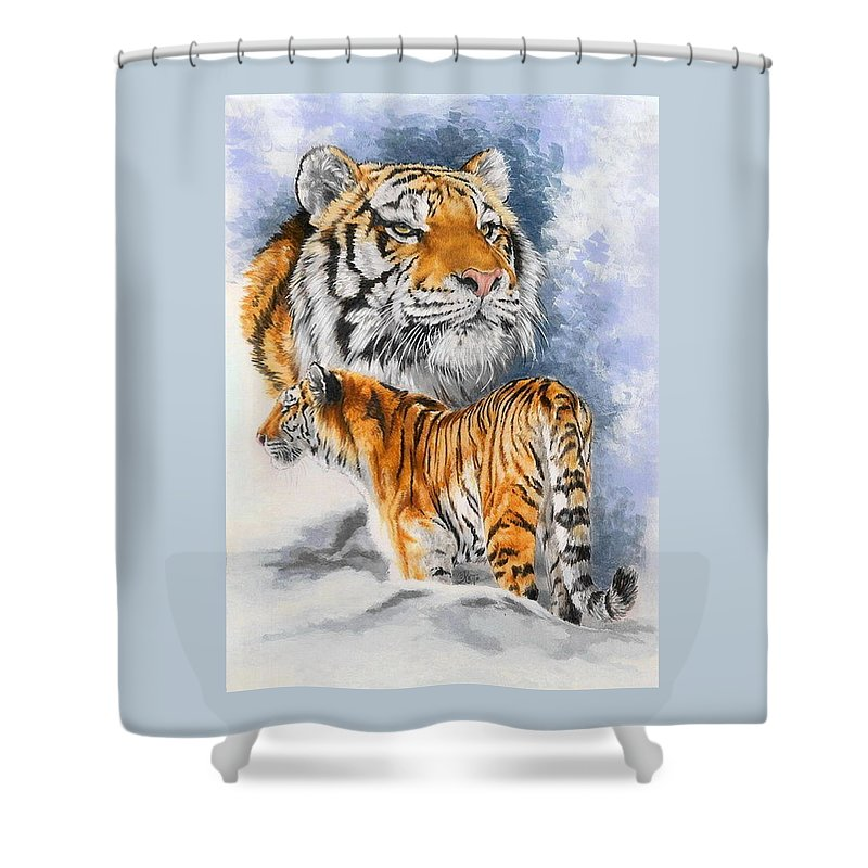 Big Cats Shower Curtain featuring the mixed media Forceful by Barbara Keith