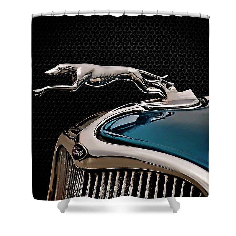 Vintage Shower Curtain featuring the digital art Ford Blue Dog by Douglas Pittman