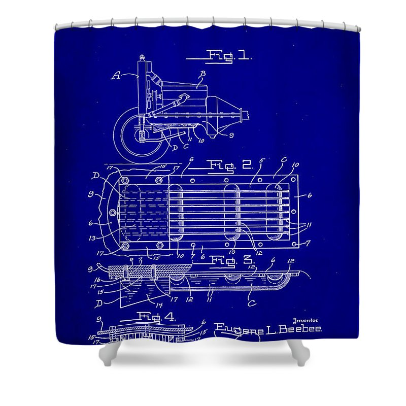 Patent Shower Curtain featuring the mixed media Ford Engine Lubricant Cooling Attachment Patent Drawing 1c by Brian Reaves