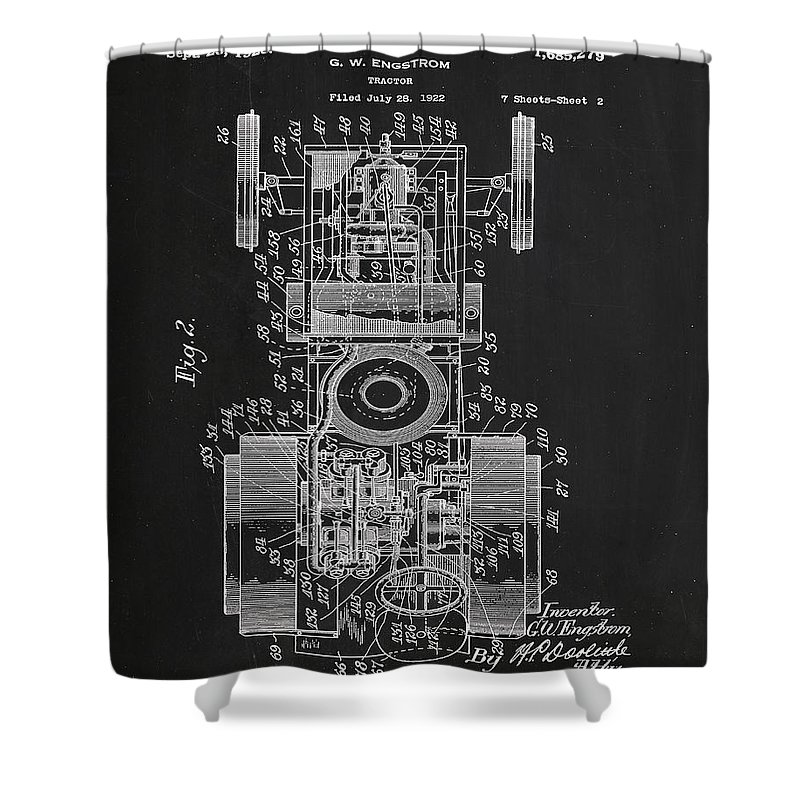 Patent Shower Curtain featuring the mixed media Tractor Patent Drawing 7a by Brian Reaves