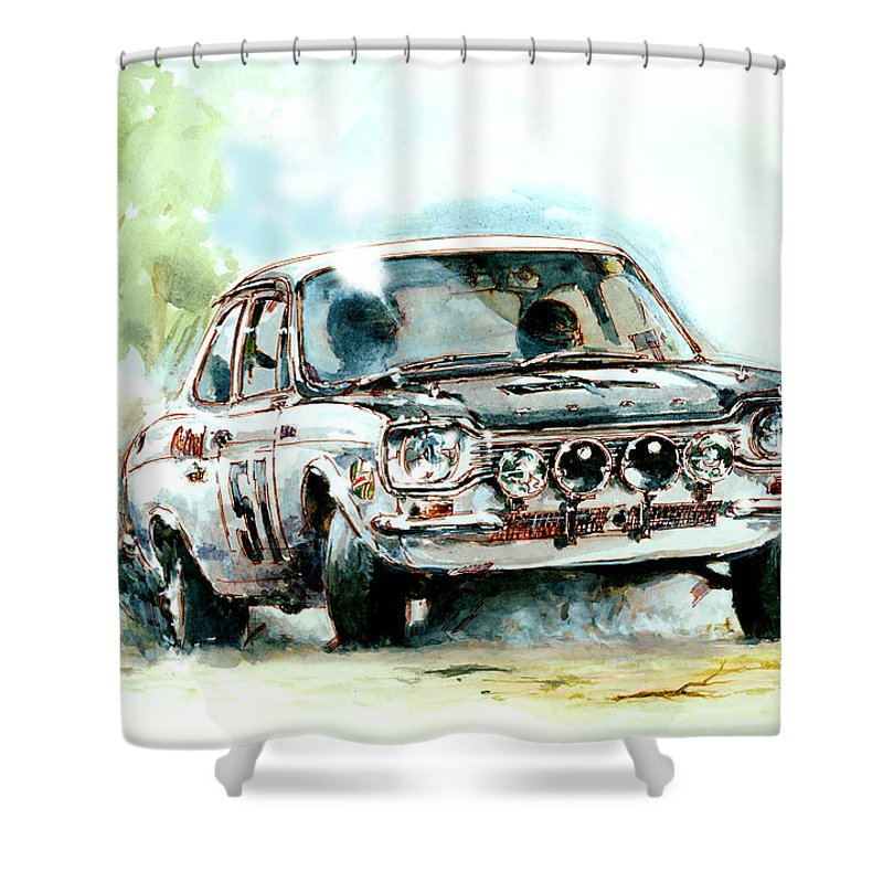 Ford Shower Curtain Featuring The Painting Escort Twin Cam British Rac Rally Car By