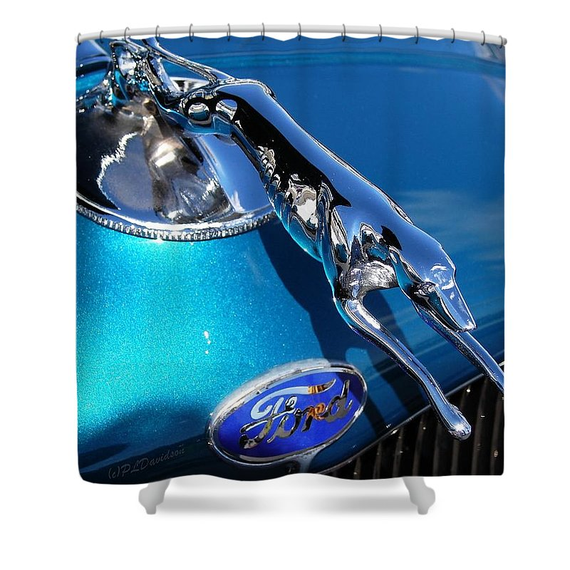 Classic Cars Shower Curtain featuring the photograph Ford Greyhound Hood Ornament by Patricia L Davidson