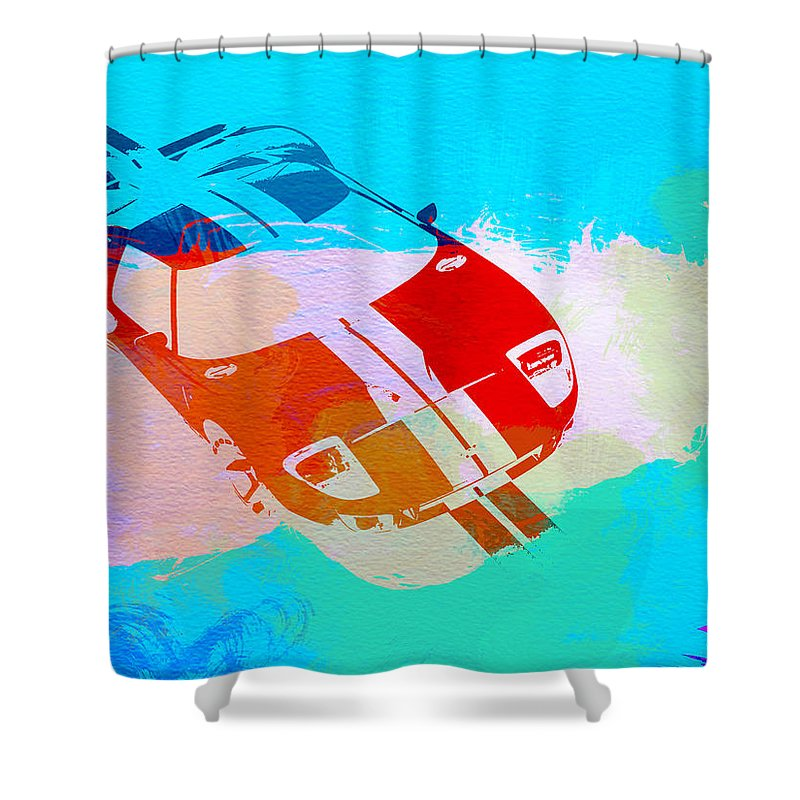 Ford Gt40 Shower Curtain Featuring The Painting Gt Watercolor By Naxart Studio